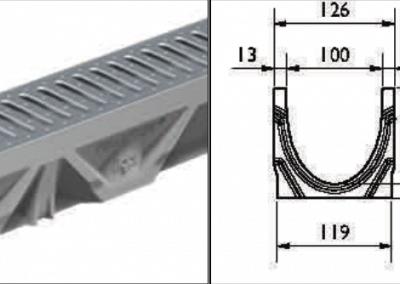 FILCOTEN afvoergoot Light 100 zonder randbescherming-technische-tekening